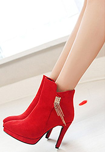 Red Zip With Suede Rhinestone Toe Ankle Heels Pointed Up Womens Boots IDIFU Faux Sweet qUIOwP0