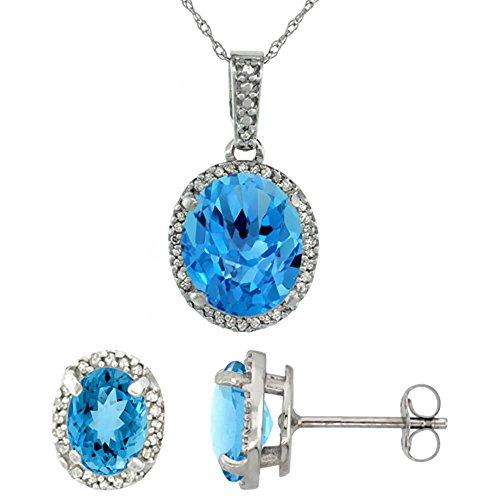 Naturel or blanc 9carats avec Topaze bleue Suisse ovale boucles d'oreilles et pendentif Set Accents de diamant