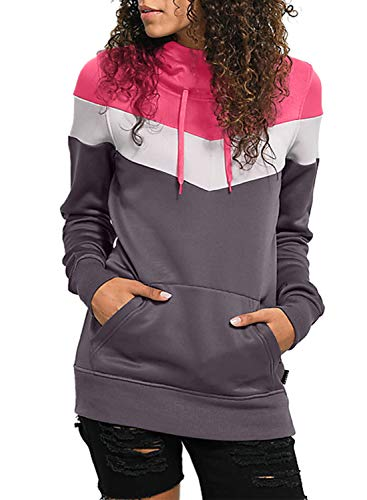 Lovezesent Women Plus Size Color Block Long Sleeve Pullover Hoodie Tops Casual Lightweight Drawstring Hooded Sweatshirt with Kangaroo Pocket Purple XL