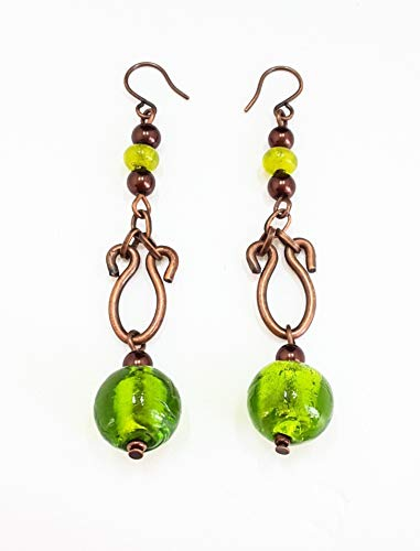- UNIQUE: LONG DROP COPPER EARRING WITH GREEN GLASS HANDMADE FROM INDIA