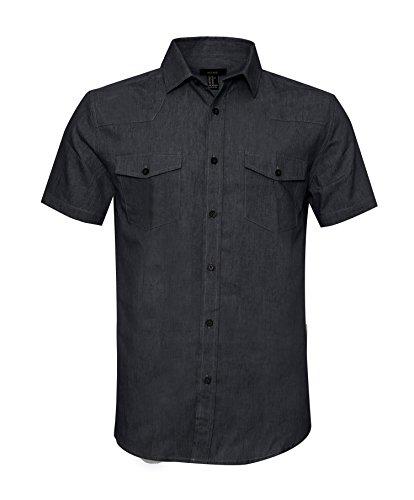 AVANZADA Men's Big & Tall Fort Short Sleeve Denim Shirt Lightweight Chambray ButtonBlack XL