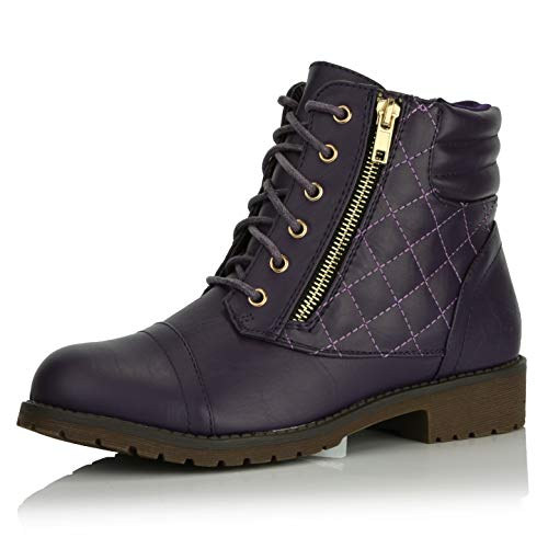 DailyShoes Women's Military Lace Up Buckle Combat Boots Ankle High Exclusive Credit Card Pocket, Purple Pu, 11