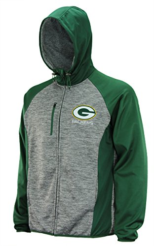 G-III Sports Mens NFL Heathered Grey Solid Fleece Full Zip Hooded Jacket, Green Bay Packers Medium