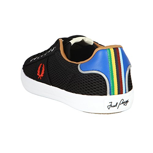 Fred Perry Men's Bradley Wiggins Black Trainers With Stripe Detail Negro - negro