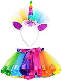 Little Girls Layered Rainbow Tutu Skirts with Unicorn Horn Headband