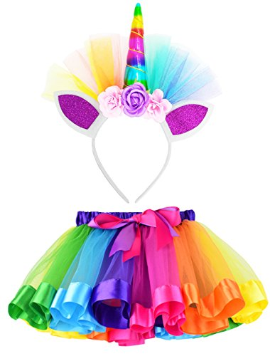 LYLKD Little Girls Layered Rainbow Tutu Skirts with Unicorn Horn Headband (Rainbow, L,4-8 Years)]()
