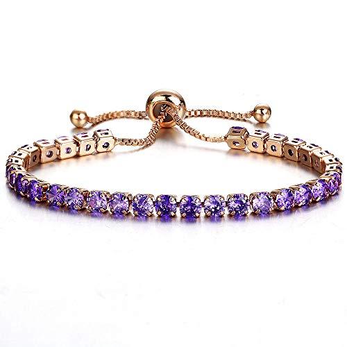 WoCoo Fashion Adjustable Cubic Zirconia Rose Gold Gift Bracelet of Luxury Shining Jewelry Bracelet for Women(B)