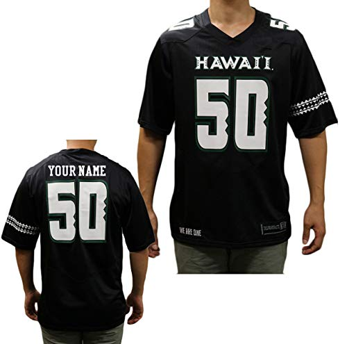 NCAA Custom Hawaii Rainbow Warriors Football Black Replica Jersey (Medium)