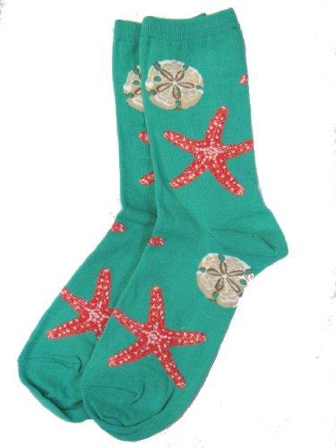 Socksmith Women's Novelty Crew Socks, Starfish on Seaglass Green, Medium