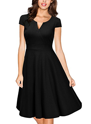 Miusol Women's Retro V Neck Cap Sleeve 1950'S Cocktail Evening Swing Dress (XX-Large, Black)
