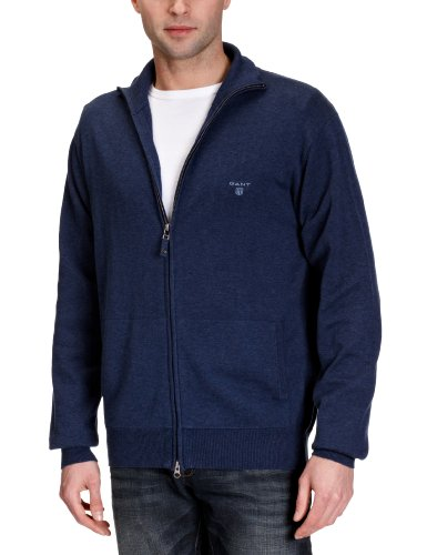 GANT Men's Light Weight Cotton Zip Cardigan, Denim Blue Melange, L