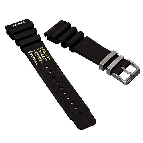 ZULUDIVER PU Rubber Watch Band Dive Black, Satin Buckle, 24mm