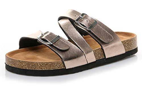 ThusFar Womens Cross Toe Double Buckle Strap Summer Leather Flat Mayari Sandals (10 B(M) US, Rose Gold)