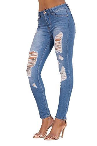 Sexi Jeans Attillati Skinny Strappati Blu 38 Donna Pantaloni Fit Fqvxwdqa5
