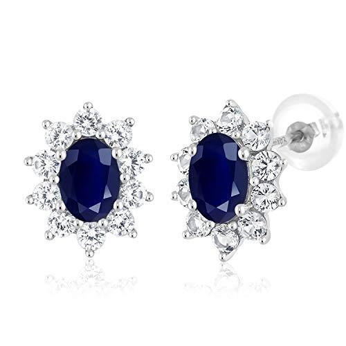 (Gem Stone King 10k White Gold Blue Sapphire Women's Halo Stud Earrings Gemstone Birthstone 1.90 cttw Oval 6X4MM)