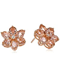 Sterling Silver, Crystal, and White Cubic Zirconia Flower Stud Earrings