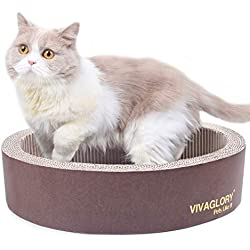 Vivaglory Cat Scratcher Lounge, Oval Cardboard Scratch Bed Scratching Box with Catnip, Brown