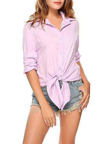 MEANEOR Women Button Shirt, Women Long Sleeve Dress Shirts Casual Irregular Hem Button Blouse Tops,Misty Rose,X-Large