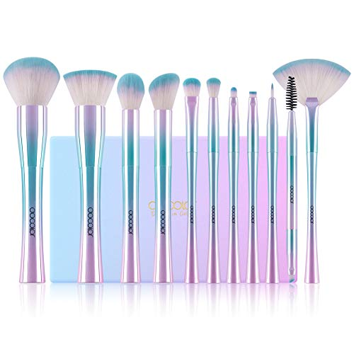 Docolor Makeup Brushes Set,11Pcs Professional Fantasy Makeup Brushes Cruelty-Free Premium Synthetic Foundation Blending Blush Concealer Eyeshadow Face Liquid Powder Make Up Brushes with Colorful Box