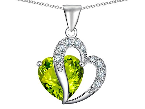 (Star K Heart Shape 12mm Simulated Peridot and Cubic Zirconia Pendant Necklace Sterling Silver)