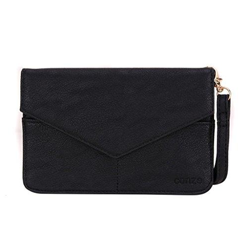 Conze Mujer embrague cartera todo bolsa con correas de hombro compatible con Smart teléfono para HTC Desire 728/ojo negro negro negro