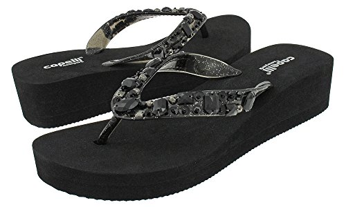 Capelli New York Transparent glitter jelly thong with sequin and gem trim Ladies Flip Flop Black 7