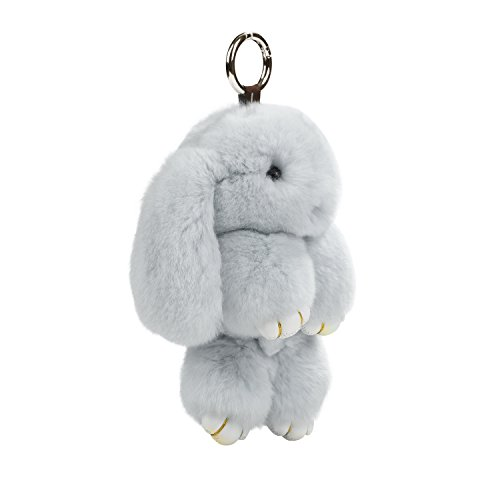 "USATDD Bunny Fur Rex Rabbit Fluffy Plush Doll Pendant Keychain Car Handbag Keyring Key Chain Womens Bag Charms 7"" (Gray)"