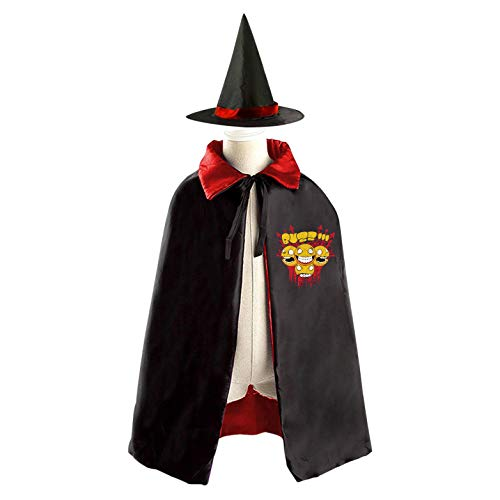 (69PF-1 Halloween Cape Matching Witch Hat Four Head Monster Wizard Cloak Masquerade Cosplay Custume Robe Kids/Boy/Girl Gift)