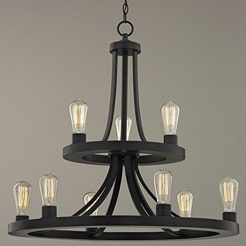 Industrial Style 9-Light Two Tier Chandelier in Bronze Finish (Lamp 2 Tier)