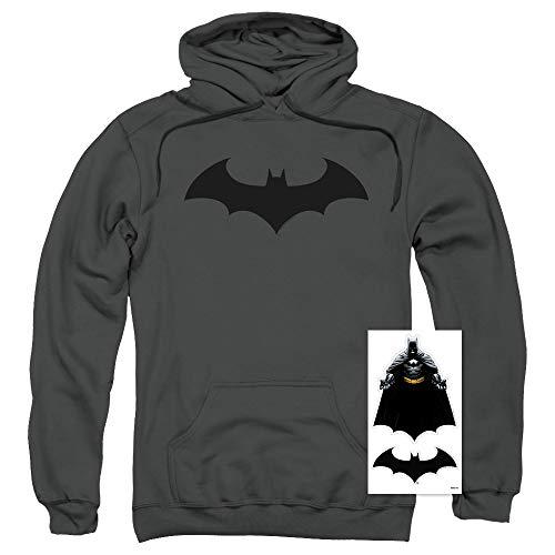 Batman Bat Hush Logo DC Comics Pull-Over Hoodie Sweatshirt & Stickers (X-Large) Charcoal ()