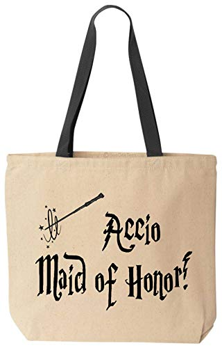 BeeGeeTees Accio Maid of Honor Funny Tote Reusable Magical Natural Canvas Bag for Wizard School Office Shopping