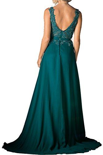 Blau Kleider Kleider Royal mia Braut Lang Partykleider La Jugendweihe Spitze Ausschnitt V Abendkleider Standsamt Brautmutterkleider 6UBSHw