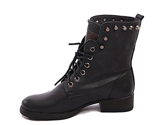PUNK BLOCK BOOTS 8 3 5 6 LADIES 4 ANKLE HEEL UP SIZE 7 NEW GOTH LACE Black M1150 BIKER COMBAT WOMENS tqwBxC0
