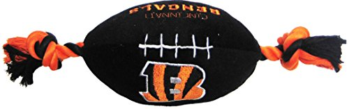 Pets First NFL Cincinnati Bengals Football Pet Plush Football Rope Toy. - Dog Toy with Inner Squeaker ()