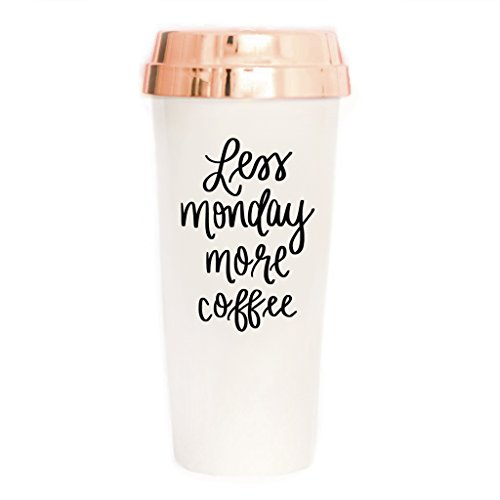 Less Monday More Coffee Travel Mug | Funny Travel Mug Coffee Lover Rose Gold Office Decor Cute Office Accessories for Women Commuter Plastic Tumbler Cup with Lid 16oz ()
