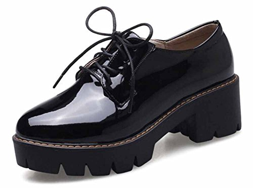 SHOWHOW Women's Retro Solid Round Toe Lace Up Low Top Slip On Mid Block Heel Platform Sneakers Shoes Black 9 B(M) US