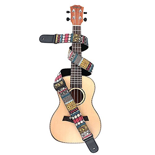 - Ukulele Strap,TIMESJOY Hawaiian Vintage Ethnic Cotton Ukulele Shoulder Strap For Soprano Concert Tenor Baritone Strings Instruments with Leather Ends (elephant in yellow)