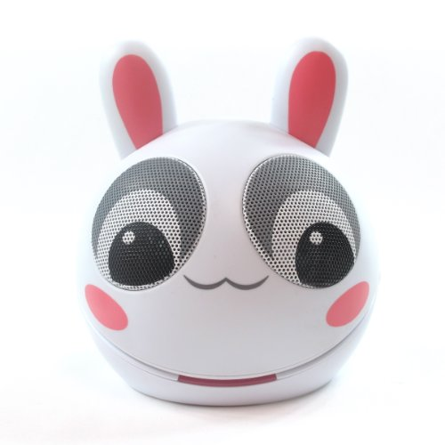 Impecca Portable Mini Character Rabbit Speakers for iPod iPad MP3 Players Laptops and Tablets (White/pink) by Impecca