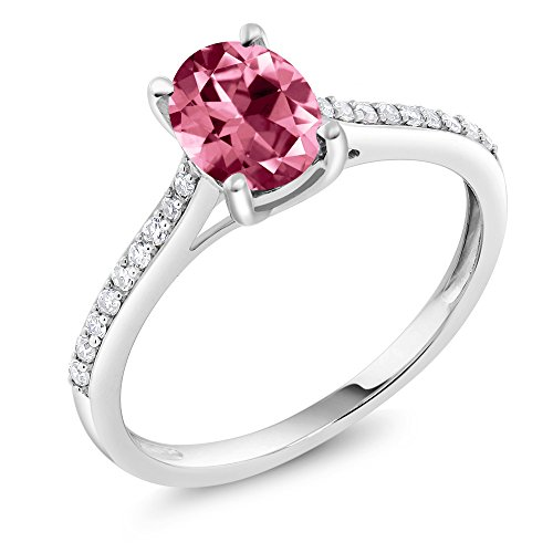 10K White Gold Pave Diamond Engagement Solitaire Diamond Ring set with 8x6mm Oval Pink Topaz Cut by Swarovski (Size 5)