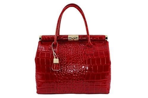 Perlina Verni Cuir Coloris Sexy Clair Chloly Perlina Rouge Sac sac Plusieurs sac Main Femme Verni agHxgtwEq