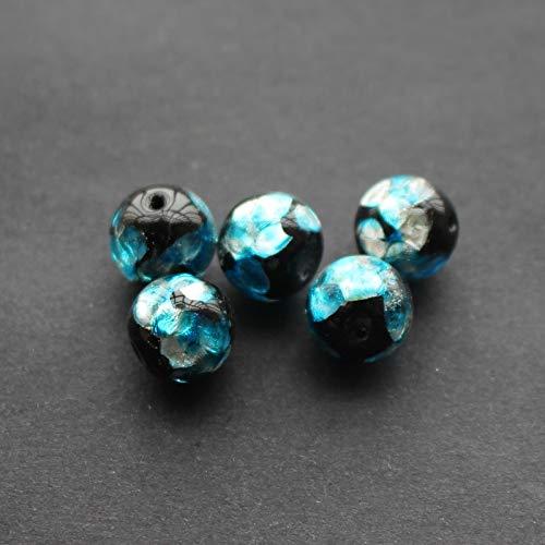 Calvas 10pcs/Lot Lampwork Beads Handmade 12mm Lampwork Glass Foil Beads Ocean Blue Color for Jewelry Making