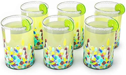 Hand Blown Mexican Drinking Glasses – Set of 6 Confetti Carmen Rock Design Glasses by The Wine Savant