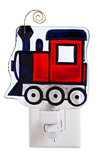 My Evergreen Train Glass Nightlight - Hand Painted Floral Plug