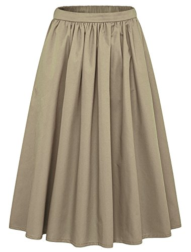 Women's Simple Back Elastic Waist A-Line Flared Midi Skirts-Pocket (Medium, Khaki)