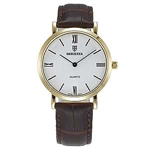 Two Hands Men Women Quartz Watch Japan Movement Wristwatch Leather Strap Waterproof Wrist Watch Roman Numerals (Men White Brown)