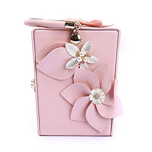 (Lantutech Flower Design Box Clutches for Evening Bags/Wedding Purse/Party Bag)