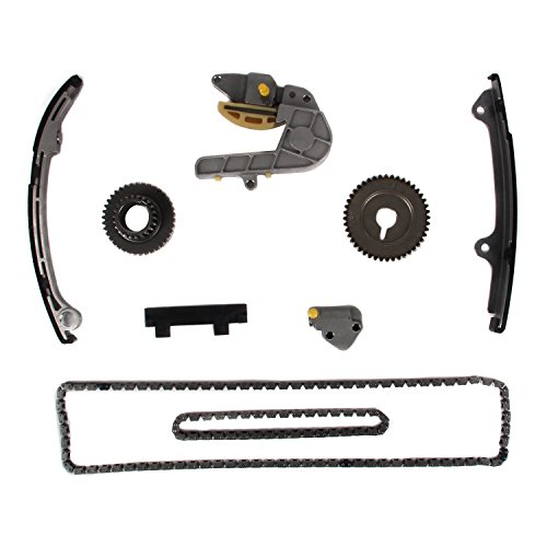 MOTORMAN Timing Chain Kit for 2002 2003 2004 2005 2006 Nissan Altima Sentra 2.5L L4 Includes Replacement Chains, Gears, Guides, and Tensioners - 9 pc