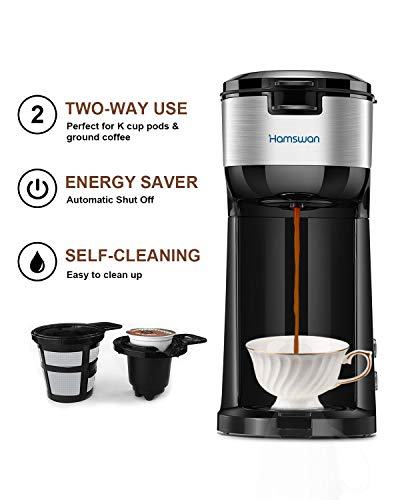 Single Serve Coffee Maker, HAMSWAN K Cup Coffee Maker for K-Cup Pod & Ground Coffee, Coffee Machine with Self Cleaning Function (Black)