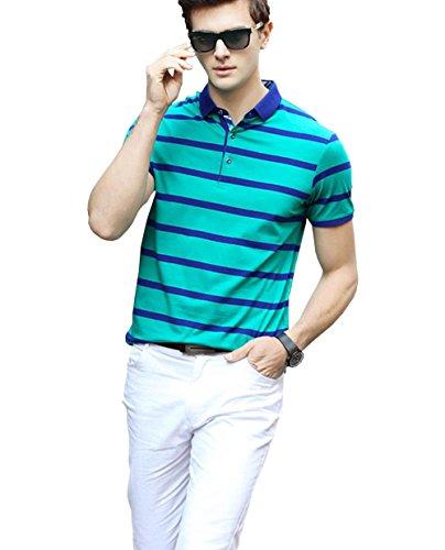 PuHao (プハオ) メンズ ポロシャツ 半袖 夏  ボーダー カジュアル スポーツウェア ゴルフウェア シンプル 通気性 薄手 吸汗 polo ファッション カッコイイ Tシャツ (グリーン05, M)