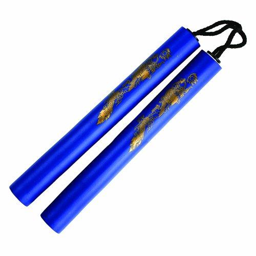 12 inch foam nunchaku with gold dragon print (blue) (Nunchaku 12 Cord)
